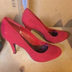 Red Suede Nine West Heels